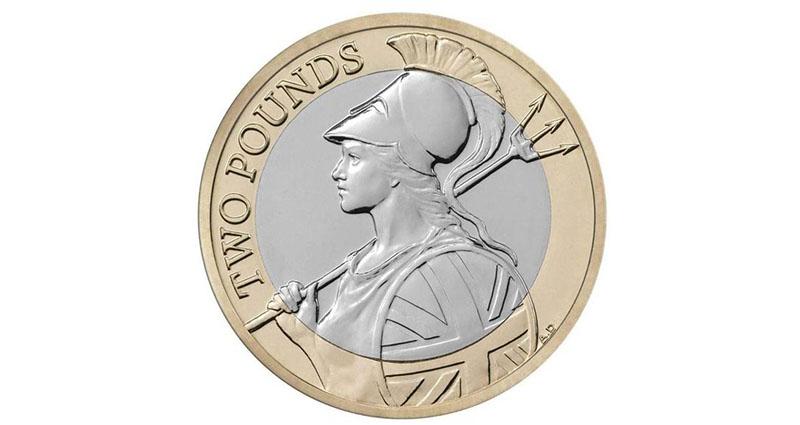 印有不列顛尼亞女神的2015年英磅硬幣 圖片來源:英國 Express