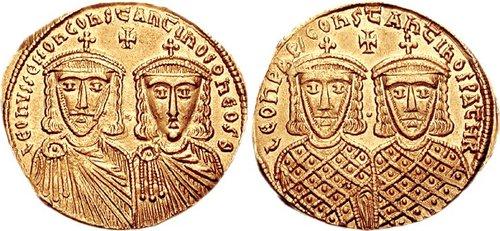 君士坦丁五世與利奧四世共治時的錢幣 圖片來源:Wikimedia Commons