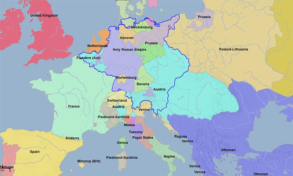 1740年哈布斯堡帝國的版圖(淺藍色)(註六) 圖片來源:geacron