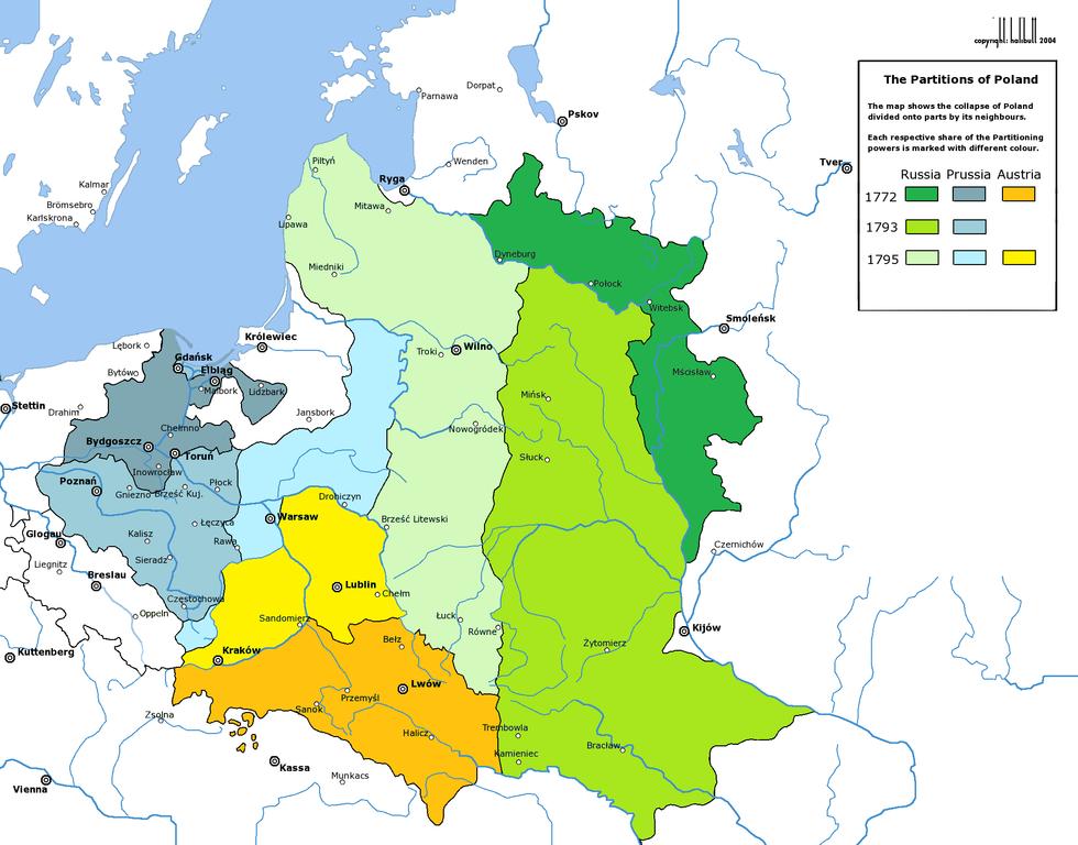 三次瓜分後落入普奧俄、原為波立聯邦的領土 圖片來源:Wikimedia Commons