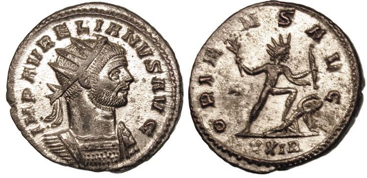 奧勒良皇帝下令鑄造,帶有無敵太陽象徵的銅幣 圖片來源:Wikimedia Commons